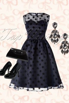 Lindy Bop - 50s Eve Polka Dot Prom Dress in Midnight Blue  Outfit inspiration