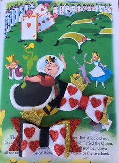 Queen of Hearts Bow Ribbon Hair Bows, Bow Hair Clips, Ribbon Flower, Fabric Flowers, Foam Crafts, Craft Foam, Disney Hair Bows, Bow Template, Custom Bows