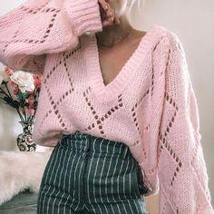 Pink Jumper, Mini Slip Dress, Mesh Long Sleeve, Knit Fashion, Sweaters For Women, Bohemian Clothing, Measurement Chart, Knit Jumpers, Knitting Ideas