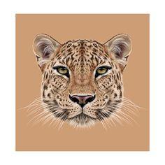 Illustrative Portrait of Leopard. Cute Face of African Leopard. Plakaty autor…