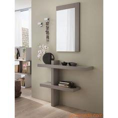 PA240 - Mueble de entrada en gris tórtola. Perchero de pared en metal, modelo 2505 (código D)