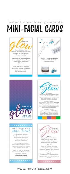 Many already designed templates for Rodan and Fields mini-facial Glow cards to help instruct your potential customers on how to use their mini-facial. Instant download printable mini-facial glow cards available. these can be diy printed or uploaded to a print vendor of your choice.
