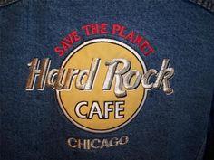 HARD ROCK CAFE Jacket L Save The Planet CHICAGO Blue Jean Denim #HardRockCafe #JeanJacket #Casual