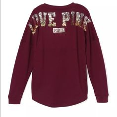 """Maroon varsity bling crew Brand new in the package. Maroon varsity """"love pink"""" blink crew neck . Over size. With the dog logo in the front. ❗️THIS LISTING IS FOR THE MAROON VARSITY CREW❗️ PINK Victoria's Secret Sweaters Crew & Scoop Necks"""