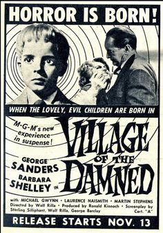 Rare 11 x 17 Sci-Fi Movie Poster Print - Village of the Damned Advance