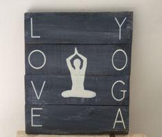 Rustic sign 'Love Yoga' by Rusticpalletshop1 on Etsy