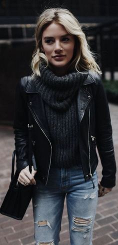 Black leather moto jacket for women suede street style.Cropped knit tan taupe.Black biker Trending Summer Spring Fashion Outfit to Try This 2017.Levis Topshop Nordstrom Asos Biker