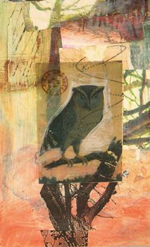Owl,  Mixed media collage by Gwen Gibson