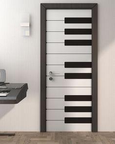Piano Style Door using Custom Door Stickers Door Design Interior, Home Room Design, House Design, Bedroom Door Decorations, Room Decor Bedroom, Cozy Bedroom, Latest Door Designs, Door Design Photos, Music Bedroom