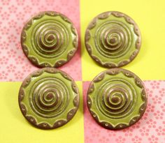 Spiral Metal Buttons , Copper Yellow Color , Shank , 0.91 inch , 8 pcs by Lyanwood, $6.00