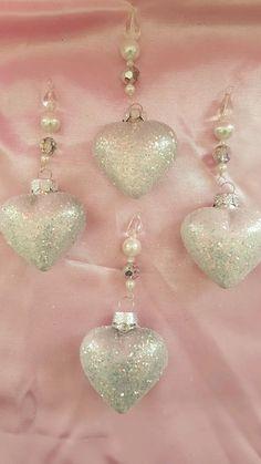 Set 4 *Swarovski Crystal* Valentine's Day White Glitter Glass Hearts Ornaments