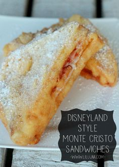EASY Monte Cristo Sandwiches just like those from Disneyland! (I had the Disneyland Monte Cristo before. The best sandwich EVER) I Love Food, Good Food, Yummy Food, Tasty, Healthy Food, Healthy Recipes, Great Recipes, Favorite Recipes, Favorite Quotes