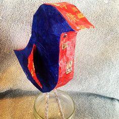 paper mache bird--cereal box body with chopsticks paper