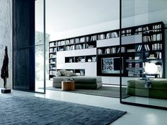 Sectional lacquered TV wall system COMP 323 Pari&Dispari Sliding ...
