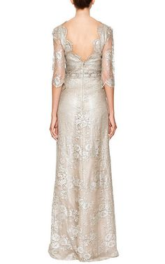 Metallic Floral Lace Gown by MARCHESA for Preorder on Moda Operandi