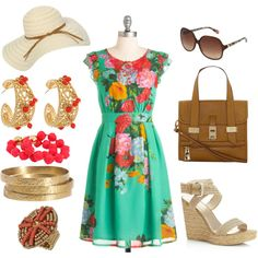 Lunch with the Girls, beach weekend outfit, teal yellow coral outfit, created by kimberlymoore