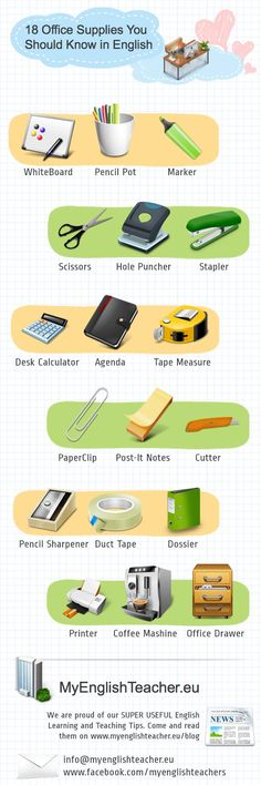 Educational infographic : 18 Office Supplies You Should Know in English (Infographic) #Vocabulary #Englis