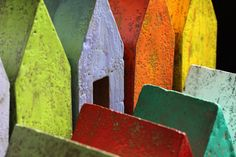 """Contemporary Sculpture - """"All in a Row"""" (Original Art from Hidden Spring Designs) ---concrete and encaustic"""