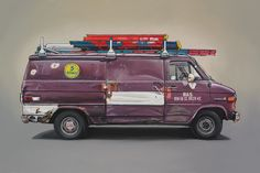 An exceptional drawing of a Brooklyn electrician's van. This is a piece you can really keep looking at. Archival print.