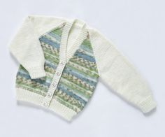 Girls Cardigan  Water Garden. Hand Knit by ACrookedSixpence