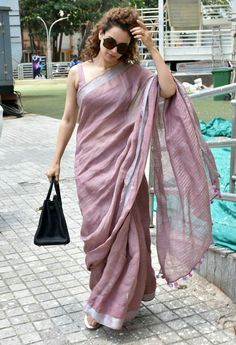 Linen saree Organic Linen by Linen sarees with zari Work and blouse piece Organic handwoven 100 count Linen saree Stitched blouse on request by IndianCollecByAnitha on Etsy Saris, Formal Saree, Casual Saree, Simple Sarees, Saree Trends, Stylish Sarees, Trendy Sarees, Saree Look, Elegant Saree