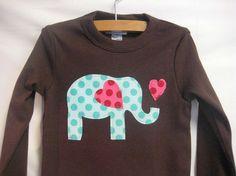 Girls Elephant Love Applique valentine shirt in by magicalscraps
