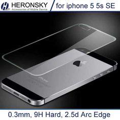 0.3 мм Премиум Назад Закаленное Стекло для iPhone 5 5s 9 H жесткий 2.5D ДУГОВЫМ Ребром Высокий Прозрачный Экран Протектор с Чистой инструменты