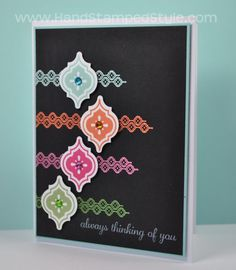 Love the how the bright colors pop off the black! Stampin Up Mosaic Madness stamp set.