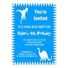 Cool Teal Dinosaur Birthday Party Invitations