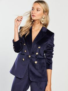 Browse our great selection of Bags, Clutches & Purses at Littlewoods Ireland. Shop now to get free delivery & returns on all online orders! Velvet Blazer, River Island, Latest Fashion, Ireland, Latest Trends, Navy, Coat, Jackets, Shopping