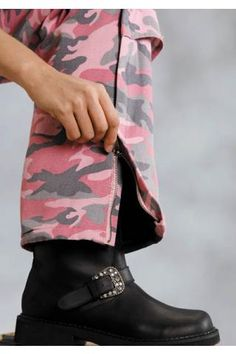 Pink Camouflage Clothing For Women | Women's Pink Camo Prnt On 10oz Canvas Nylon Roper Outerwea Western ...