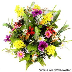 Admired by Nature 36 Stems Artificial Full-blooming Lilac (Purple), Daisy, and Black-eyed Susan with Foilage Mixed Flowers Bush (