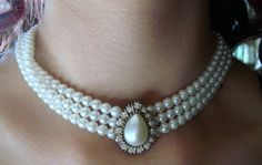 Stunning Glass Pearl and Rhinestone Choker by AntiqueAlchemists, $40.00