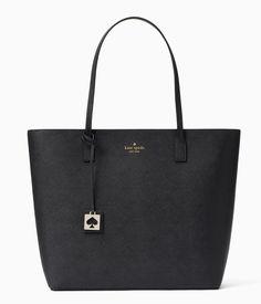 Kate Spade Abbey Street Karla Leather Zip Top Tote Shoulder Bag Black Pumice #katespade #TotesShoppers