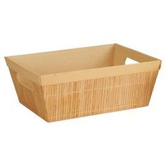 """Set of four bamboo trays with handles and faux leather trim.  Product: Set of 4 traysConstruction Material: BambooColor: BeigeDimensions: 4"""" H x 10"""" W x 8"""" D each"""