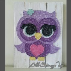 Thanks for looking. Olivia owl in purple String Art, Made by hand with love in NSW, Australia. Find the rest of my pictures at the following places. Find my website at www.allstrungup.com.au Find me on Instagram at https://www.instagram.com/all_strung_up/ Find me on Facebook at https://www.facebook.com/All-Strung-Up-915873695199667/?ref=hl