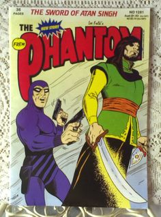 The Phantom Comic Book - The Sword Of Atan Singh 36 pages Comic Book Superheroes, Comic Books, Phantom Comics, Kit Walker, News Stories, Sword, Cover, Drawing Cartoons, Cartoons