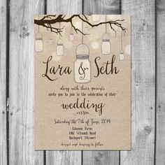 Hanging Mason Jar Wedding Invitation Set by ChristinaElizabethD