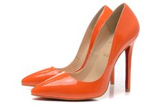 Christian Louboutin 12CM Orange Leather pointed Pumps