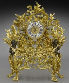 Large French Louis XV style bronze-dore clock with : Lot 172