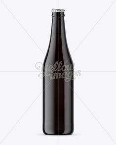 Dark Glass Beer Bottle Mockup