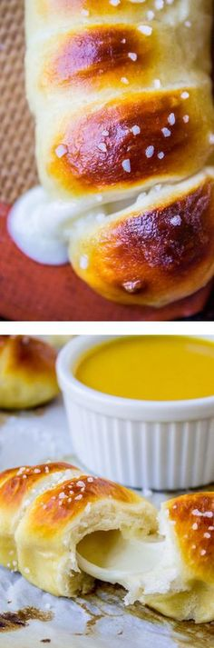 yummy side dish for family meal , party or bbq , alternative dinner roll Mozzarella-Stuffed Soft Pretzels from The Food Charlatan // Like a Pretzel Dog, but with mozzarella cheese. Perfect for dipping in honey-mustard sauce! I Love Food, Good Food, Yummy Food, Tasty, Snack Recipes, Dessert Recipes, Cooking Recipes, Pretzel Recipes, Grilling Recipes