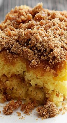 Streusel crumb topping, and layered ins… Yellow Cake Mix Sour Cream Coffee Cake. Streusel crumb topping, and layered inside too. Cake Mix Desserts, Cake Mix Recipes, Delicious Desserts, Dessert Recipes, Yellow Cake Recipes, Yellow Desserts, Cake Mix Coffee Cake, Sour Cream Coffee Cake, Coffee Cream