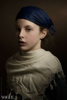 Rudi Huisman - Girl with a blue hat . Photographer Rudi Huisman is creating portraits inspired and based on the golden age master painters.