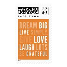 MOTIVATIONAL WORDS TO LIVE BY modern typography Postage - modern style idea design custom idea