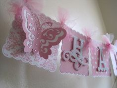 Items similar to Butterfly Happy Birthday Birthday banner. 1st Birthday Banners, Party Banners, 1st Birthday Girls, Princess Birthday, 1st Birthday Parties, Butterfly Party, Butterfly Birthday, Happy 1st Birthdays, Decoration Table