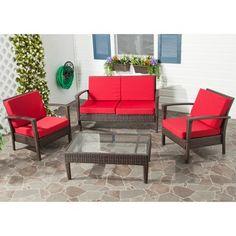 Safavieh Outdoor Living Brown PE Wicker Red Cushion Glass Top 4 Piece Patio  Set (FOX6006E), Patio Furniture