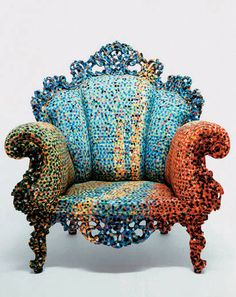 So neat - the 'proust' limited edition miniature chair in hand-painted ceramic ware by alessandro mendini. Sofa Chair, Armchair, Cool Furniture, Furniture Design, Memphis Furniture, Vitra Design, Chair Design, Miniature Chair, Table Vintage
