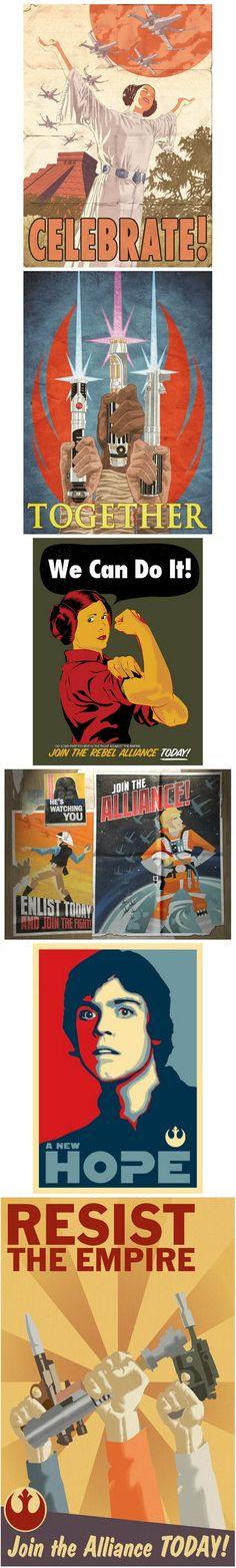 Propaganda posters de las Fuerzas Imperiales y de la Alianza Rebelde de Star Wars