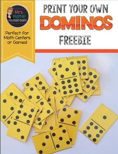 This is a complete set of dominos, from double blank to double nines.  Each domino measures 4 cm by 6.5 cm.  Simply print, trim and enjoy!  Perfect for math games and centres!You may also like these other math products:Balanced Candy Algebra Task CardsFishing For Fractions Card GameMy Survey: A Data Management ProjectI Have, Who Has: Representing Numbers to 100,000I Have, Who Has: Representing Numbers to 10,000Please consider leaving feedback on this item to earn credit toward future TpT…